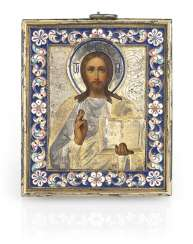 Christ Pantocrator in a Silver-Gilt and Cloisonne Enamel Oklad