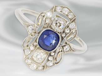 Ring: decorative delicate antique white gold ring with diamond and blue color stone, 14K Gold