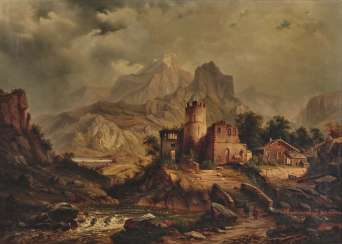 German mid-19th century, mountain landscape with ruins and alpine hut