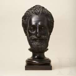 Larger-than-life bronze portrait head of King Henry IV, France, 19th century