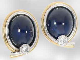 Earrings: beautiful and very valuable women's earrings with brilliant trim and sapphire Cabochons, 18K Gold, the court jeweller Roesner