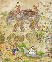 Significant painting with the story of Laila and Majnun, with a composite elephant