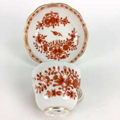 Mocha table Setting: Meissen porcelain, Indian painting in coral-red, very good.