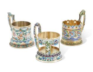 THREE CLOISONNÉ ENAMEL SILVER-GILT TEA-GLASS HOLDERS