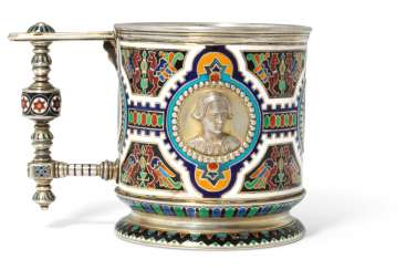 A CHAMPLEVÉ ENAMEL PARCEL-GILT SILVER TEA-GLASS HOLDER