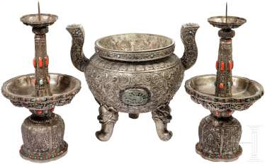 Three piece, silver Altarset with coral trim, sino-Mongolian, 19th century. Century