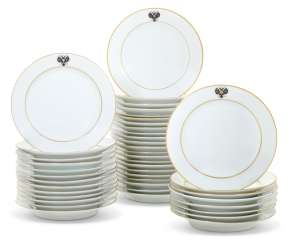 FORTY THREE PORCELAIN DINNER PLATES FROM THE ALEXANDER III CORONATION SERVICE