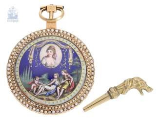 Pocket watch: very fine, exquisite flat German Gold/enamel pocket watch with a rare comma inhibition and, especially, elaborate beaded appliqué, Roman Melly & Roux à Constance, No. 8345, CA. 1810