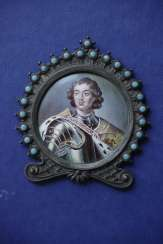 Antique Russian Enamel Miniature. Peter the Great