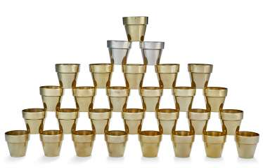 A GROUP OF TWENTY-NINE AMERICAN SILVER-GILT MINIATURE BEAKERS