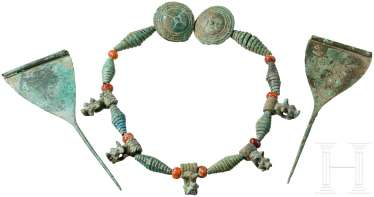 Two needles and a necklace made of Bronze and carnelian beads, Caucasus, Koban culture, 9th - 7. Century