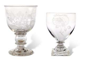TWO ENGLISH ENGRAVED AND MONOGRAMMED GLASS GOBLETS