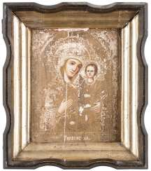 A SMALL ICON WITH THE MOTHER OF GOD OF TICHVIN (TICHVINSKAJA) IN KIOT Russia