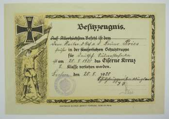Prussia : Iron Cross, 1914, 2. Class certificate for a rider of the schutztruppe for German South West Africa.