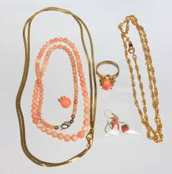 Item of coral jewelry among others
