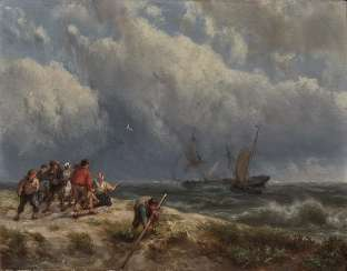 Hermanus Koekkoek - Coast scene with ships on stormy seas