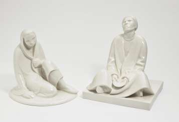 'Seated girl' and 'blind beggar'. Black Burger workshops for porcelain art, white brook, in 1908 and in 1906, Ernst Barlach