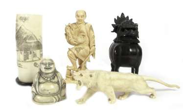 2 figures, a Tiger and a brush Cup of ivory, to the burner of Bronze Incense