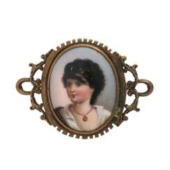 Brooch with miniature painting on ceramic,