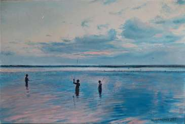 Original landscape painting oil on canvas, Fishing on the evening Dnepr river