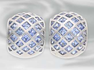 Earrings: attractive, high-quality sapphire ear clips, approx. 6,03 ct., 18K white gold, top quality Pauly, very high quality brand jewelry!