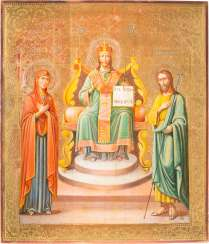 LARGE-FORMAT ICON WITH THE ENTHRONED CHRIST FLANKED BY THE MOTHER OF GOD AND JOHN THE BAPTIST