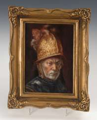 Porcelain painting: man with a gold helmet.