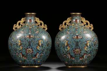 Qing Dynasty Cloisonne Copper gilt Ssangyong ear hold month bottle a pair