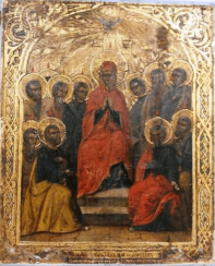 Icon descent of the Holy spirit on the apostles