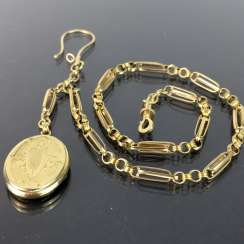 Watch chains / chain for pocket watch: yellow gold 585, worked with locket pendant, very beautiful.