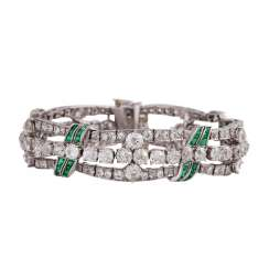 Art Deco bracelet with emeralds and old European cut diamonds