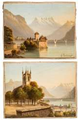 Two Landscape paintings of Switzerland, dated 1885