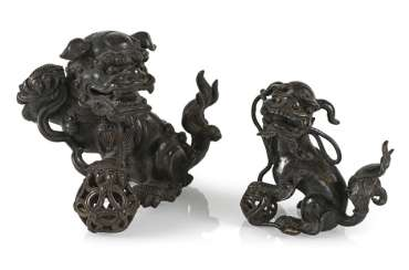An incense burner and a small Bronze in the Form of Fo lions