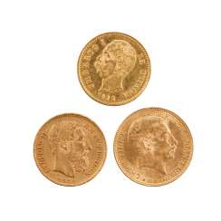 Small gold solder 3 coins, approx. power used 19.66 g of finely, consisting of