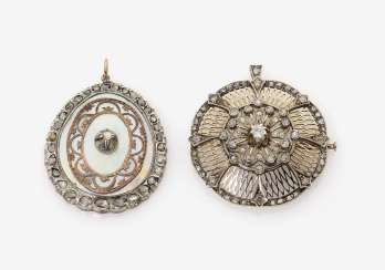 Two pendants with diamonds and mother-of-pearl. Germany, around 1900
