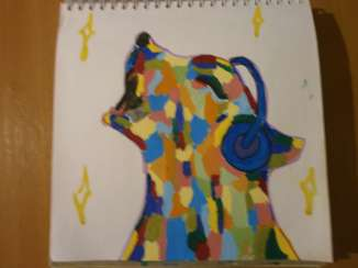 Picture. Inexpensive painting. Dogs. Music. Dog talent.