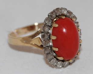 Ring with diamonds and coral