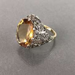Ladies ring with diamonds and citrine. Yellow gold and white gold 585. Art Nouveau 1900's.
