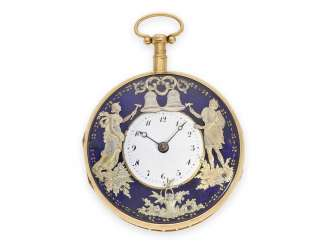 Pocket watch: high-quality Golden Spindeluhr with percussion and the figure of automaton Jacquemart, signed original keys, probably Geneva, circa 1820