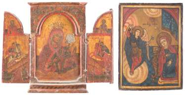 TRIPTYCH WITH THE MOTHER OF GOD, TO THE SAINTS GEORGE AND DEMETRIUS, AS WELL AS THE ICON OF THE ANNUNCIATION