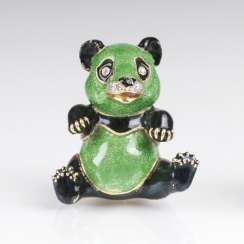 Miniature-Gold-box 'Panda' with brilliant and enamel decor