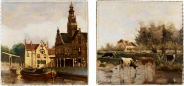 TWO TILES WITH LANDSCAPE AND CITY VIEW
