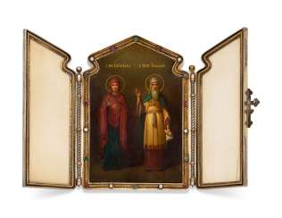AN IMPORTANT JEWELLED PARCEL-GILT SILVER AND IVORY TRAVELLING TRIPTYCH ICON