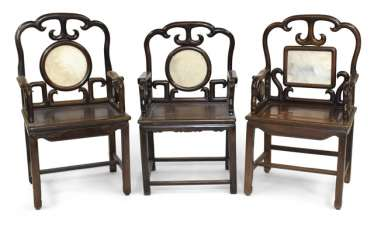 Three Chairs With Marble Inlay,