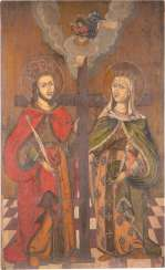 A MONUMENTAL ICON OF THE SAINTS CONSTANTINE AND HELENA