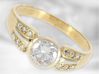 Ring: interesting high quality ring brilliant with a solitaire 0.95 ct, 18K yellow gold