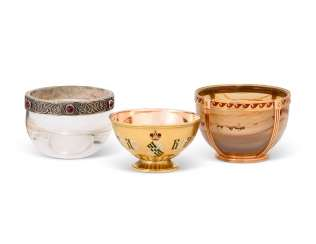 THREE GEM-SET AND ENAMEL SILVER, GOLD AND HARDSTONE MINIATURE BOWLS