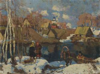 Early Spring in a Village, signed and dated 1924.