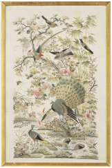 A CHINESE EMBROIDERED SILK 'HUNDRED BIRDS' PANEL