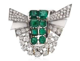 EMERALD, SIMULATED EMERALD AND DIAMOND BROOCH